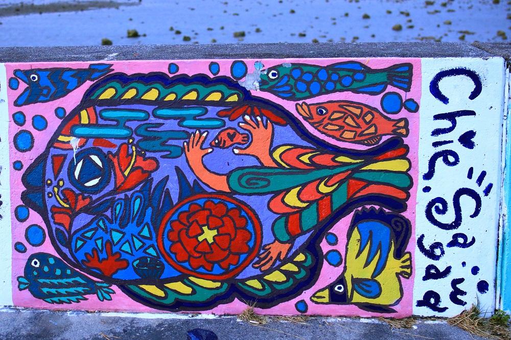 防波堤の魚のアート